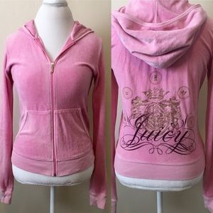 Juicy Couture Pale Pink Velour Hooded Jacket 👑